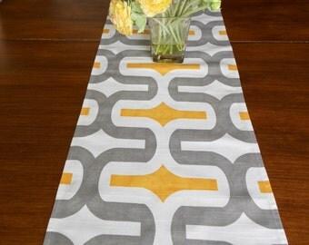 TABLE RUNNER 12 x 48 Gray Yellow Modern Table Runners Wedding Showers Decorative Gray Yellow Table Runner 48 60 72 84 96