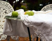 """Softened natural linen tablecloth with linen lace """"Country Ambience"""", White"""