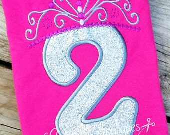 Princess Crown Birthday  Number 2 Machine Embroidery Applique Design 4 Sizes