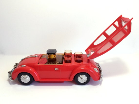 Vintage Decanter Bar Set With Volkswagen Beetle Car Holder