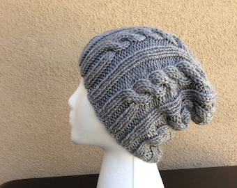Cable Knit Hat, Gray Knit Hat, Slouchy Beanie, Cable Knit Beanie, Grey Knit Slouch Hat, Grey Hat, Gift for Him, Gift for Her, Ready To Ship