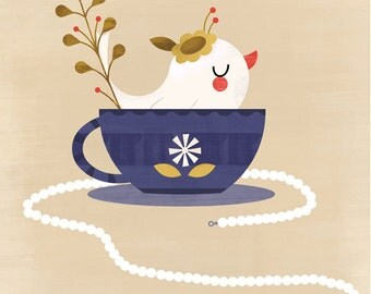 Tea Time Dress Up by Amber Leaders 8x10, 11x14 art print