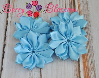 "Baby Blue Satin Ribbon Flower 2"" inch size - Set of 4 satin ribbon flowers - SF YC145 7"