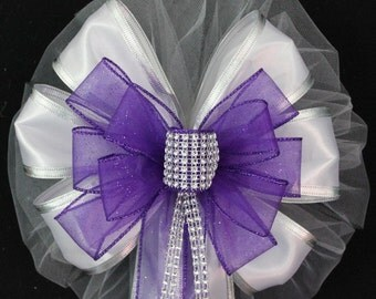 Purple Bling Wedding Pew Bows - Church Pew Decorations, Wedding Aisle Decorations, Wedding Ceremony Bow, Wedding Chair Bows, Diamond Wedding