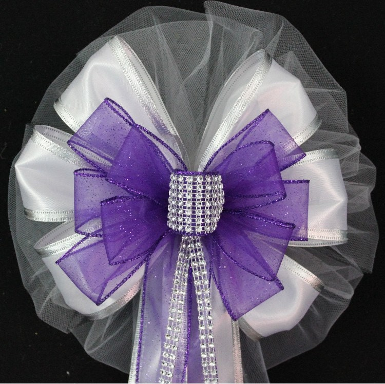Wedding Pew Decoration Ideas: Purple Bling Wedding Pew Bows Church Pew Decorations