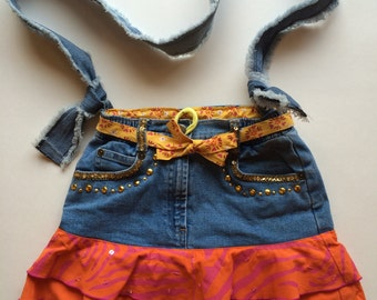 """Upcycled, Recycled denim bag. It's one of a kind with an adjustable shoulder strap. The """"Ra Ra Razzel"""" Bag"""