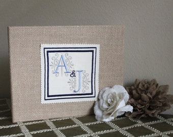 Double Monogram Burlap Photo Album/Scrapbook/Recipe Book-Wedding, Anniversay, Birthday, Shower, Bridesmaid, Housewarming, Hostess Gift