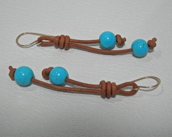 Long brown leather and turquoise earrings, gold filled hooks