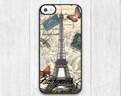 Eiffel Tower On Vintage Page iPhone 5C case, Vintage iPhone 5C hard case, Protective cover skin case for iPhone 5C (Hard / Rubber case)