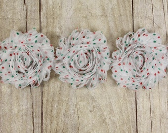 "Christmas ""White with Red & Green Dots""  Shabby Chiffon Flower -  shabby flower trim, shabby chiffon rose trim, shabby rosette tri"