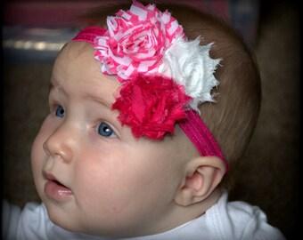 Hot Pink and White Chevron Headband - Baby Headband - Toddler Headband - Adult Headband
