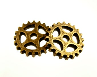 Steampunk Gear Charm in Antique Brass, Other finishes available