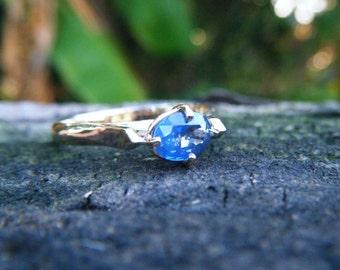 SAPPHIRE engagement ring, Ceylon blue sapphire ring, sapphire solitaire, alternative gem engagement ring,