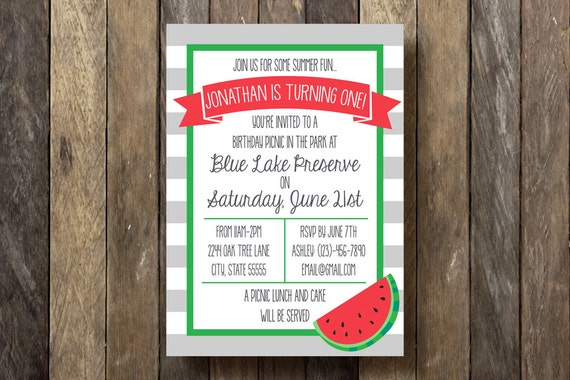 First Birthday Invitation - Printable Birthday Party Invitation - Watermelon Birthday Party - First Birthday Party - Watermelon Birthday