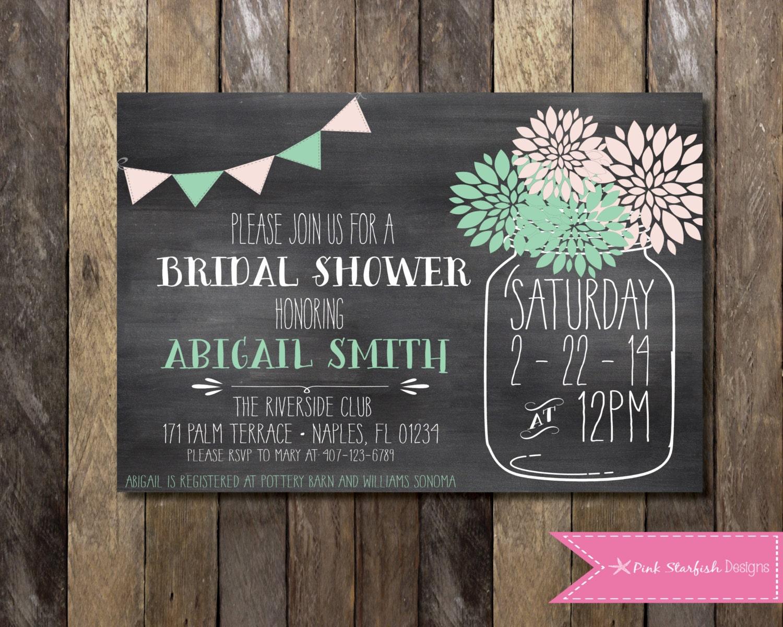Chalkboard Wedding Invitations: Bridal Shower Invitation Chalkboard Invitation Chalkboard