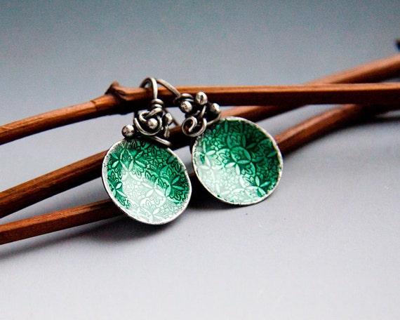 beautiful earrings with enamel, silverplated copper, wire wraped earrings , dark green enamel earrings, turquoise colored