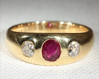 Antique 18k Victorian Ruby and Diamond Ring c.1890