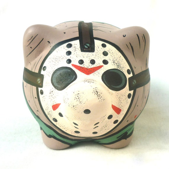 Jason Voorhees 'Friday the 13th' Piggy Bank - Horror Movies Style - Original Art Custom Painted - One of a kind!