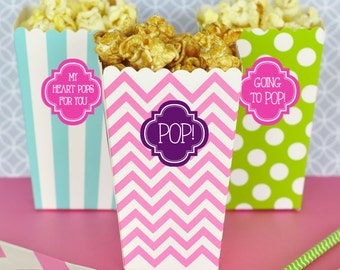 Ready to Pop Popcorn Boxes About to Pop Baby Shower Popcorn Boxes - Personalized Popcorn Boxes - Baby Shower Treat Boxes 2| (EB4008P) 24 pcs