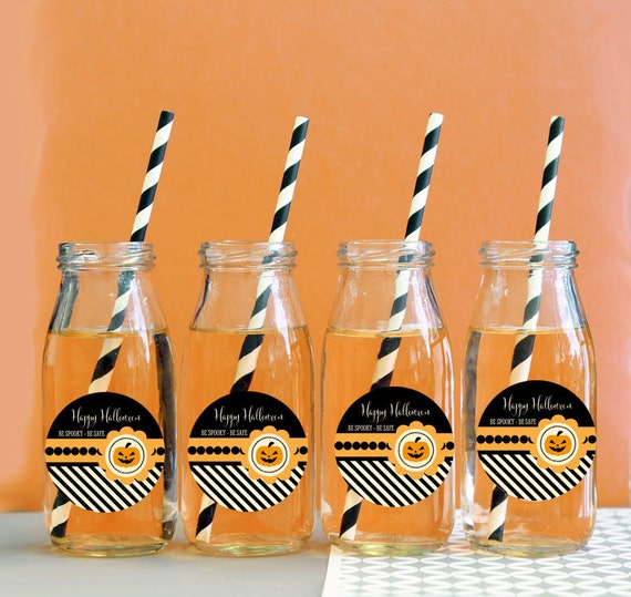 Halloween party milk bottle favors halloween wedding for Halloween party favor ideas