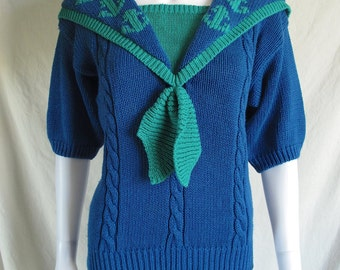 Vintage 80s Women's Blue & Green Sailor Sweater with Anchor Designs by Robert Scott Ltd.