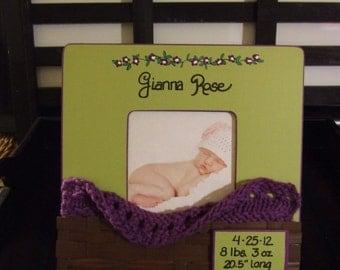 Birth Stats Frames for BABY frames Personalized newborn frame Baby shower gift birth announcement frames Grandparent gift basket frame