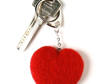 Wool Needle Felted Keychain Bag Charm with Red Heart  Key Ring Christmas Valentines Mother Day  Present Gift
