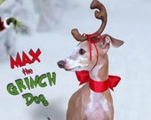 Max the Grinch Dog head antler for Christmas pets, dog or cat! Last day for XMas is 12/15
