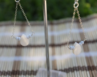 Large Water Drop Earrings in Blue Opal and Mother of Pearl