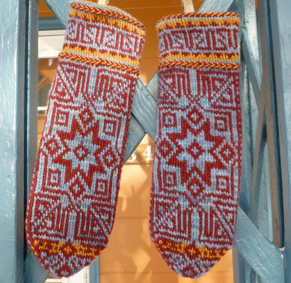 Digital Knitting Patterns : Seljuk Mittens Digital Knitting Pattern PDF fair isle