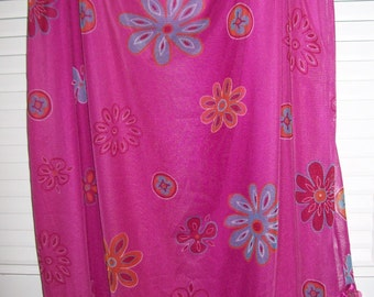 Raspberry dressy blingy skirts, two, one short, one long, over skirted w fish scales, ruffles XL, LG Med