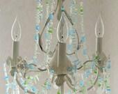 Sea Glass Chandelier Beach Cottage Chic Coastal Decor Lighting Fixture Antique White * the Islamorada *