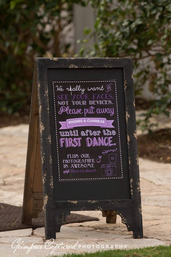 Unplugged wedding sign template Printable Instant Download photography poster shabby chic rustic first dance photographer photo blue pink