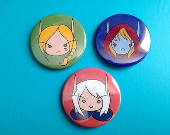 Windrunner Sisters Buttons (World of Warcraft themed pinback buttons)