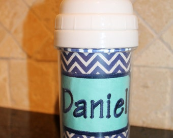 Navy Blue Chevron Sippy Cup - Personalized w/ Name or Monogram - SIPPY or STRAW Top options