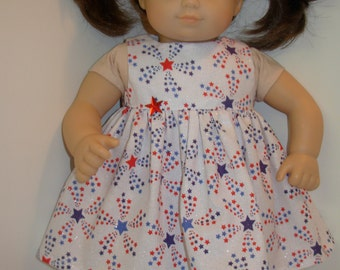 "15 inch Bitty Baby Clothes, Pretty ""SPARKLING STARS"" Dress, 15 inch Ag American Doll Clothes, Baby Doll Clothes, Celebrate USA! 4th of July!"