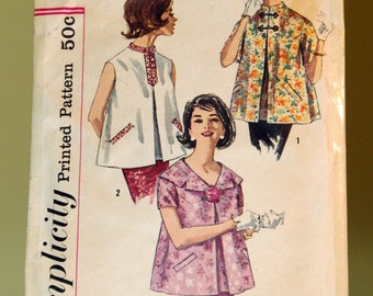 Vintage 1960 Simplicity 3344 Maternity Top Pattern, Size 12, Bust 32