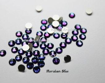 5ss 7ss 9ss MERIDIAN BLUE Swarovski Crystal Flatback Rhinestones. ss9 ss7 ss5  Foiled. No-Hotfix. 2058.