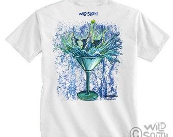 Marlin Fish Shirt Design - Marlintini- Hand Screen Printed on White Shirt - depicts original painting by Kevin Curran Blue Marlin Fish Shirt