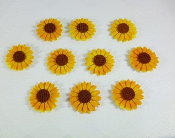 FELT SUNFLOWER  SET of 10 pcs Five Sunflower for your craft project double-sided tape yellow brown