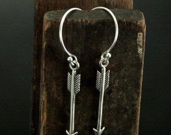 Artemis Earrings - Sterling Silver Arrow Earrings - Hunger Games Inspired Earrings - Mockingjay Earrings - Archery Jewelry