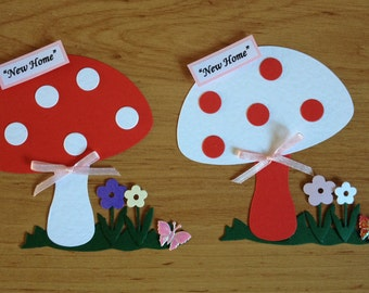 2 Large Handmade New Home Congratulations Toad Stool Mushroom Card Toppers Card making Scrapbooking Handmade Card Papercraft