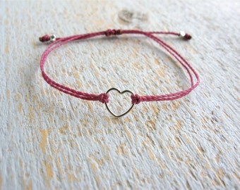 Silver Heart Bracelet, String Heart Bracelet, Sterling Silver Heart Bracelet, Simple Bracelet, Friendship Bracelet
