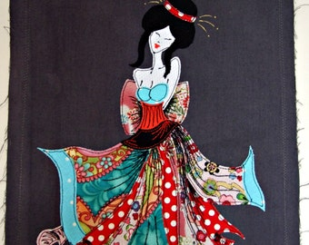 geisha wall art ~ wall art ~ appliqued geisha girl ~ oriental wall art ~ japanese geisha art