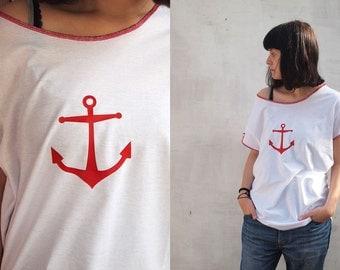 Women's Sailor T-shirt / Anchor T-shirt / marine T-shirt/white/boyfriend T-shirt/ loose shirt /International Free Shipping