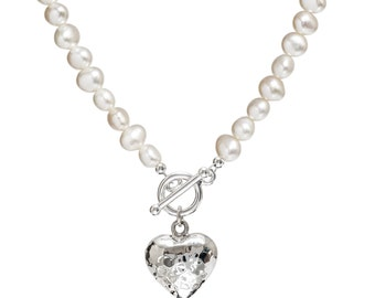 Pearl Necklace with Silver Heart   Heart Necklace   White Pearl Necklace   Pearl Wedding Jewellery