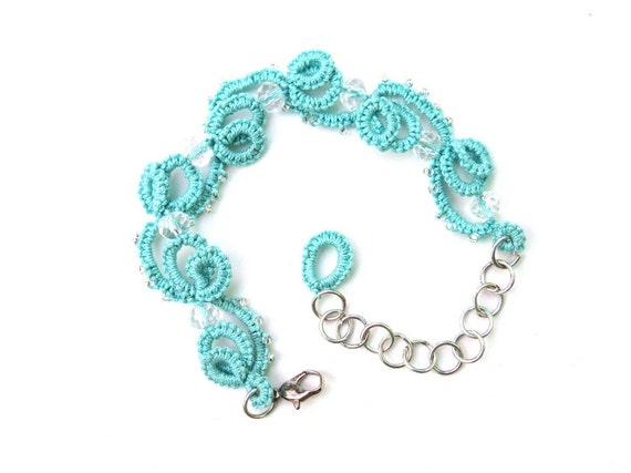 Handmade tatted bracelet mint with clear glass seed beads and clear glass crystal beads