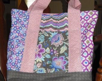Pink/Purple/Brown Market Tote Bag