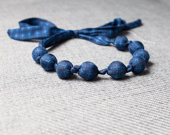 Silk fabric beaded necklace (25)