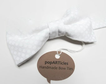 White Bow Tie - White Polka Dot Bow Tie - Handmade with 100% Cotton - Men's Pre-Tied Bow Tie